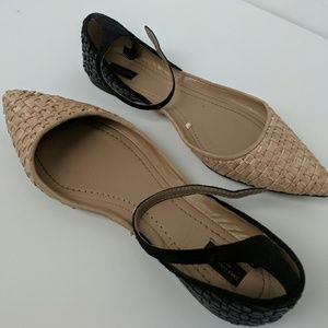 Zara point toe woven leather flat ankle strap 9